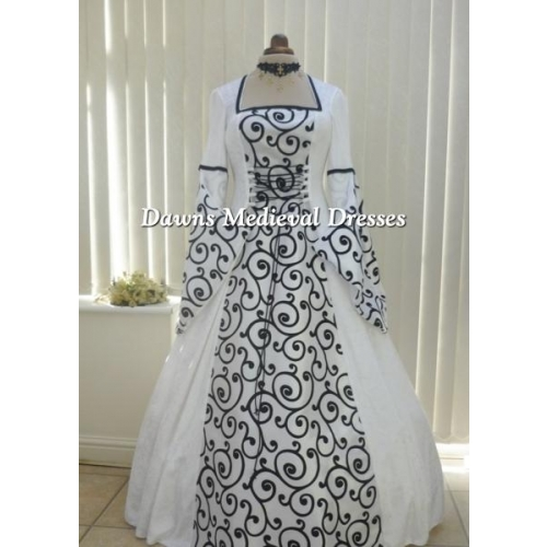 Medieval White and Black Wedding Dress